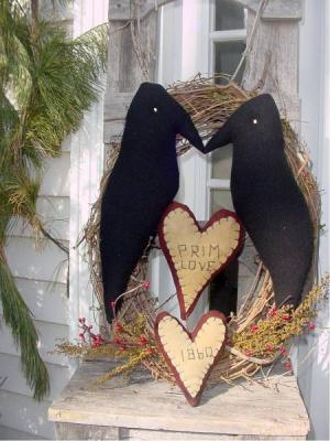 Wool Prim Heart and Crow wreath-
