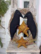 Primitive Crow with 1714 stars Wreath-