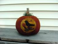 Large Pumpkin with moon and crow-