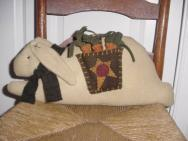 Tea Stained Bunny Basket Pillow-