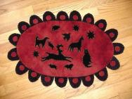 Reproduction Penn Dutch animal penny rug mat