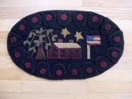 Oval penny rug saltbox house mat-