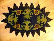 Pineapple and posey penny rug mat-