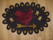 Red rooster penny rug mat-