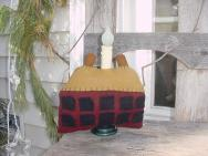 Small wool saltbox house light-