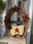 Wool sheep wreath-