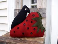 Strawberry and crow sill sitter