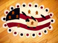 Americana sheep and flag penny rug-