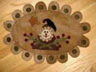 Extremely Primitive Snowman penny rug mat-